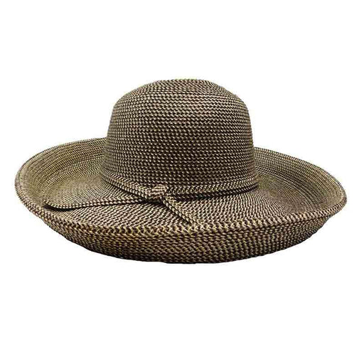 "Packable up brim sun protection hat for women. Soft poly-blend tweed braid kettle brim style hat.  3"" wide up turned brim.  Self-tie band.  Shapeable, packable.  Rated for excellent UPF 50+ sun protection. Blocks UVA and UVB rays."
