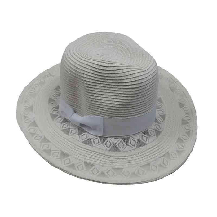 Diamond Design Lace Brim Fedora - SetarTrading Hats
