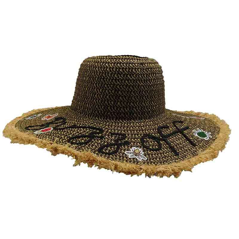 Buzz Off Sun Hat with Frayed Straw Brim by San Diego Hat Company - SetarTrading Hats