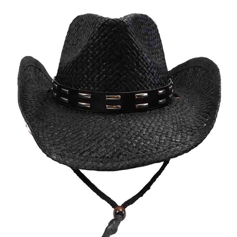 Black Straw Cowboy Hat with Studded Leather Band - Sun Styles - SetarTrading Hats