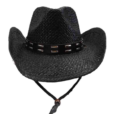 Black Straw Cowboy Hat with Studded Leather Band - Sun Styles