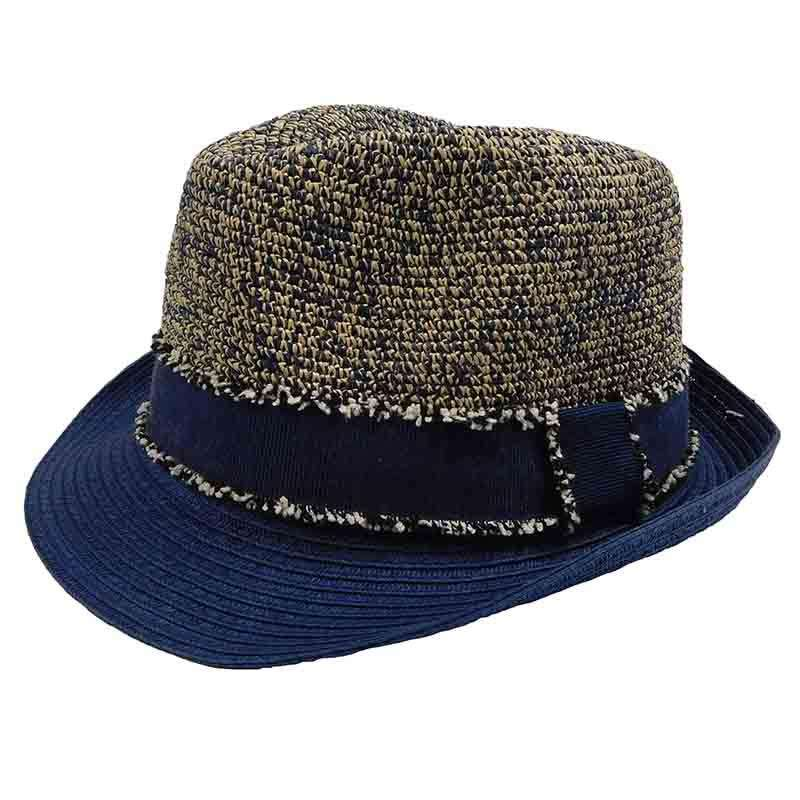 Unisex Tweed Navy Raffia Crown Fedora Hat by Sun Styles