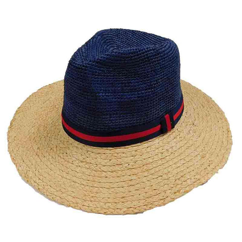 Navy and Natural Raffia Safari Hat by Sun Styles