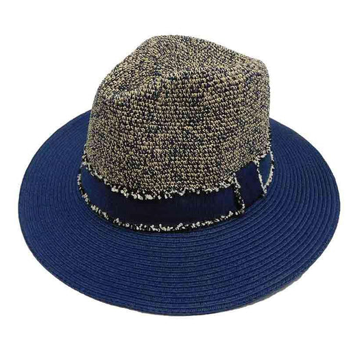 Tweed Navy Raffia Crown Safari Hat by Sun Styles