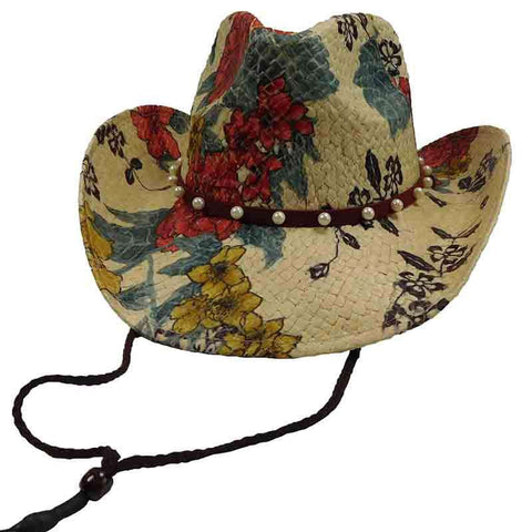 Painted Floral Cowboy Hat with Pearl Band - Sun Styles