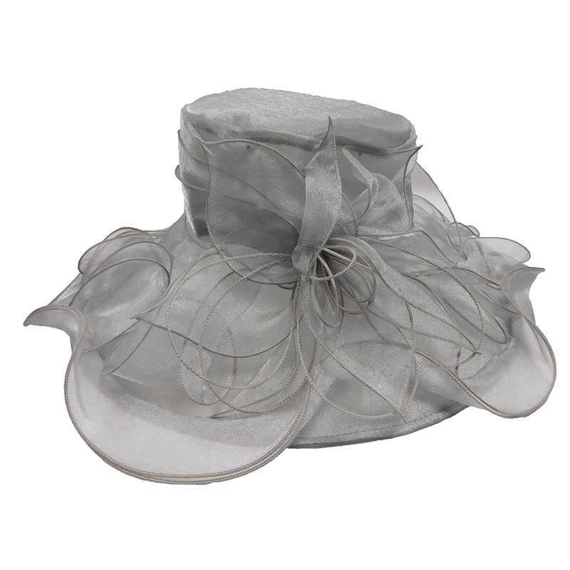 Flower Organza Hat with Curly Ribbon Accent - SetarTrading Hats
