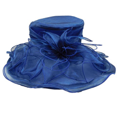 Flower Organza Hat with Curly Ribbon Accent