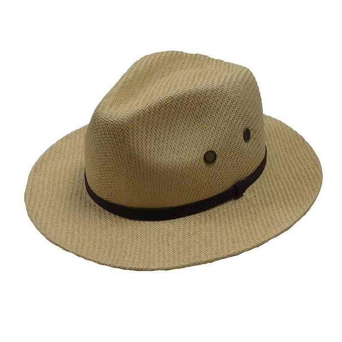Woven Toyo Fedora with Mesh Grommets - DPC Global Trends