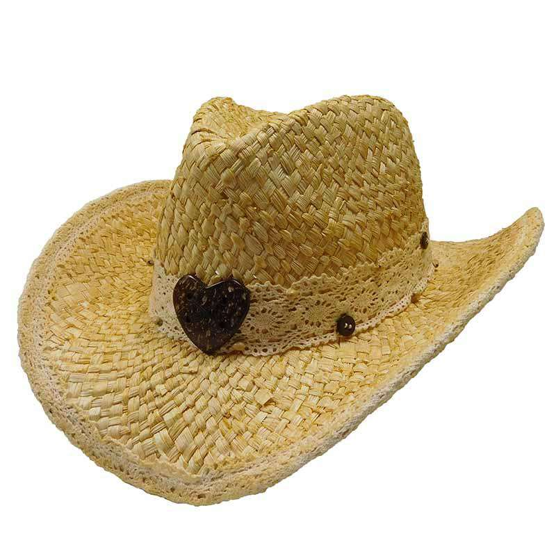 Maize Western Hat with Lace Band - Tropical Trends