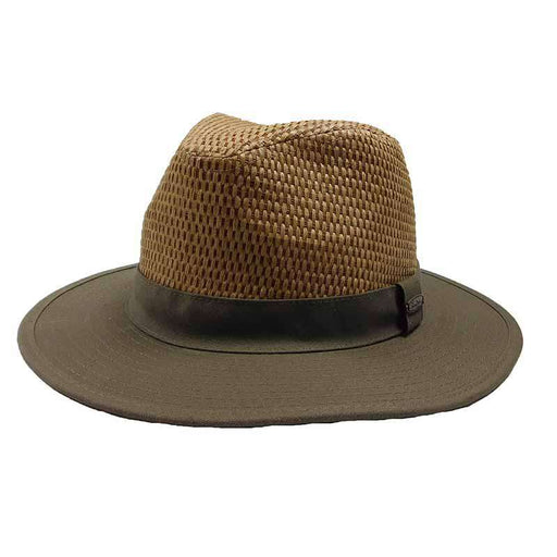 Straw Crown Cotton Brim Safari Hat - Panama Jack