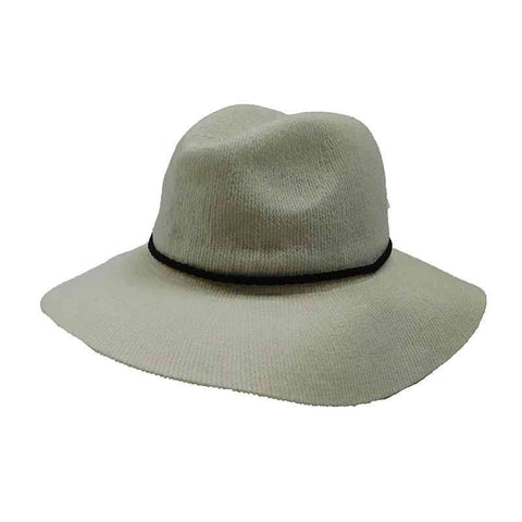 Chenille Safari Hat with Braided Suede Band by Scala
