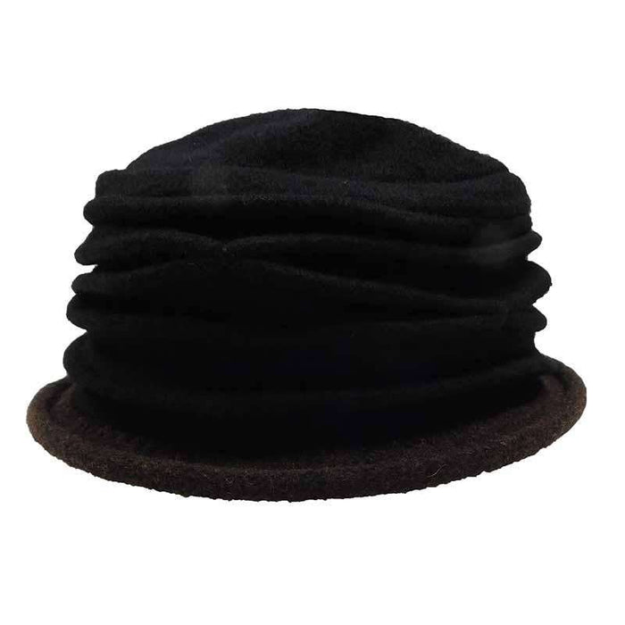 Contrast Trim Boiled Wool Pleated Beanie - Scala - SetarTrading Hats
