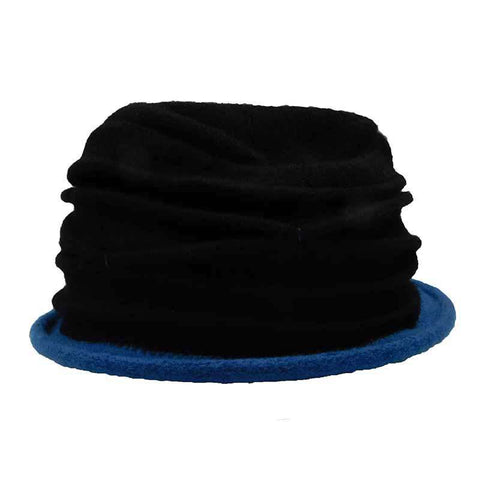 Contrast Trim Boiled Wool Pleated Beanie - Scala