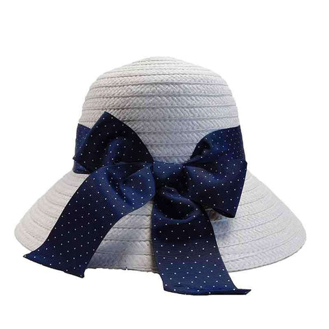 Blue Polka Dot Ribbon Bow Summer Bucket Hat - Jones New York
