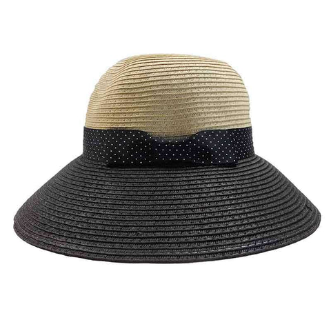 Black Polka Dot Ribbon Bow Big Brim Sun Hat - Jones New York