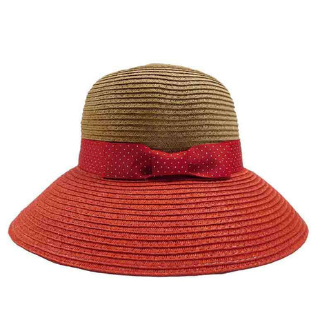 Red Polka Dot Ribbon Bow Big Brim Sun Hat - Jones New York