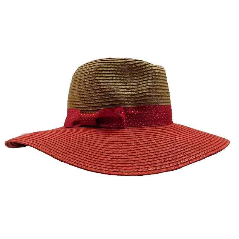 Red Polka Dot Ribbon Bow Safari Hat - Jones New York