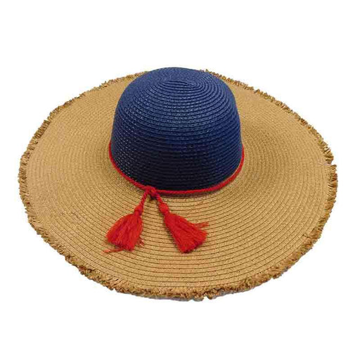 Frayed Edge Navy and Toast Summer Floppy Hat - Adrianne Vittadini