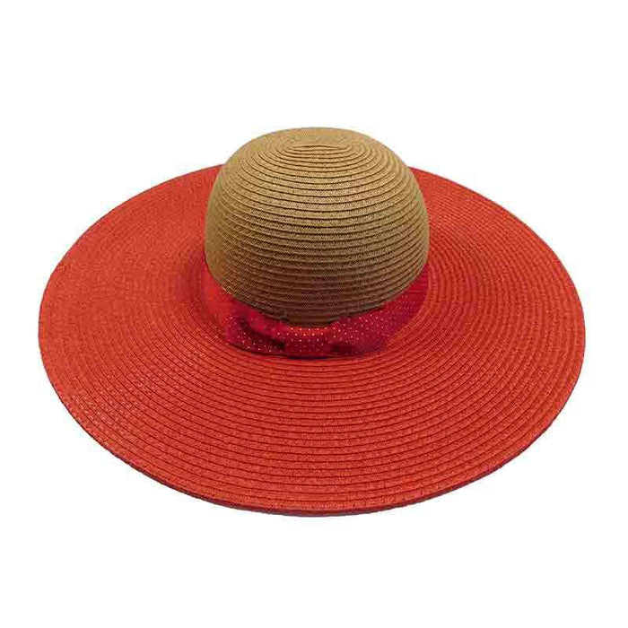 Red Polka Dot Ribbon Bow Summer Floppy Hat - Jones New York