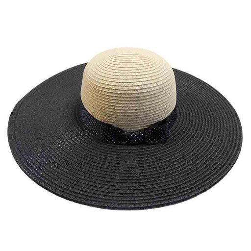 Black Polka Dot Ribbon Bow Summer Floppy Hat - Jones New York - SetarTrading Hats