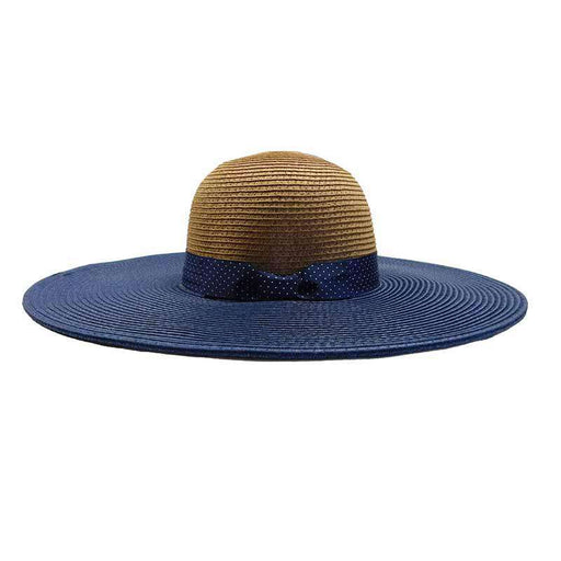Navy Polka Dot Ribbon Bow Summer Floppy Hat - Jones New York