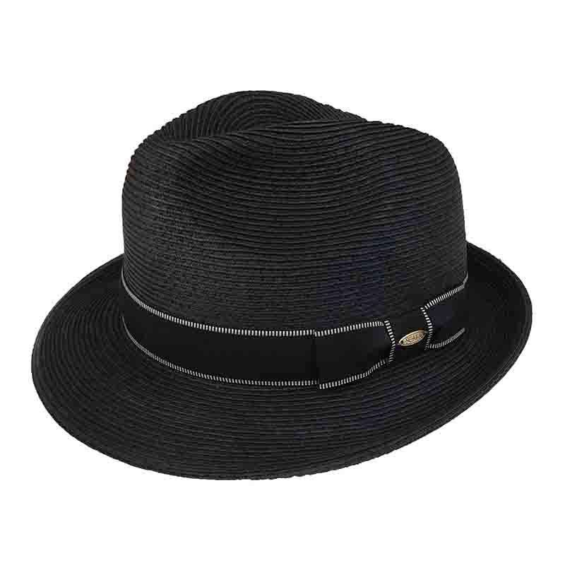 Microbraid Fedora with Black Stitched Band