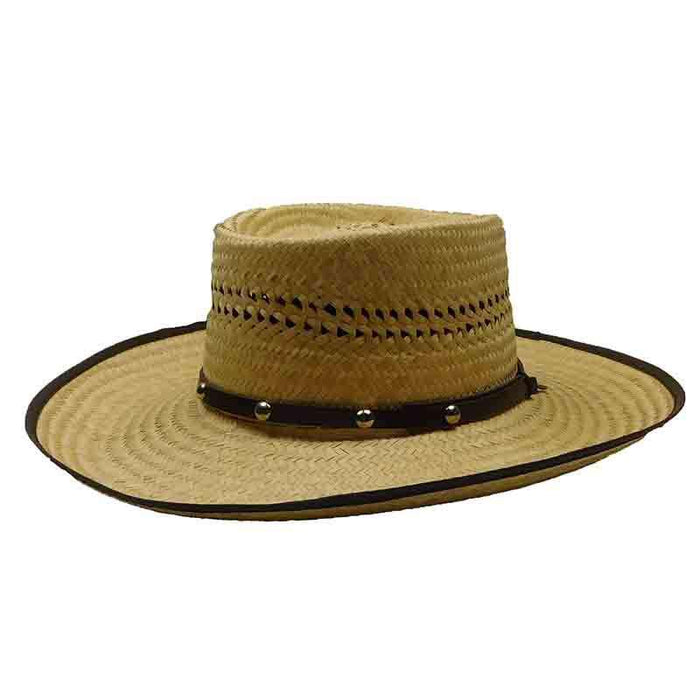 Woven Palm Gambler Hat with Studded Band - P.L. Gallera
