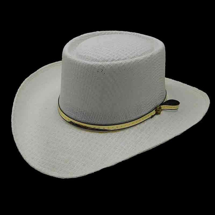 Western Gambler Hat with Gold Band - Texas Gold Hats