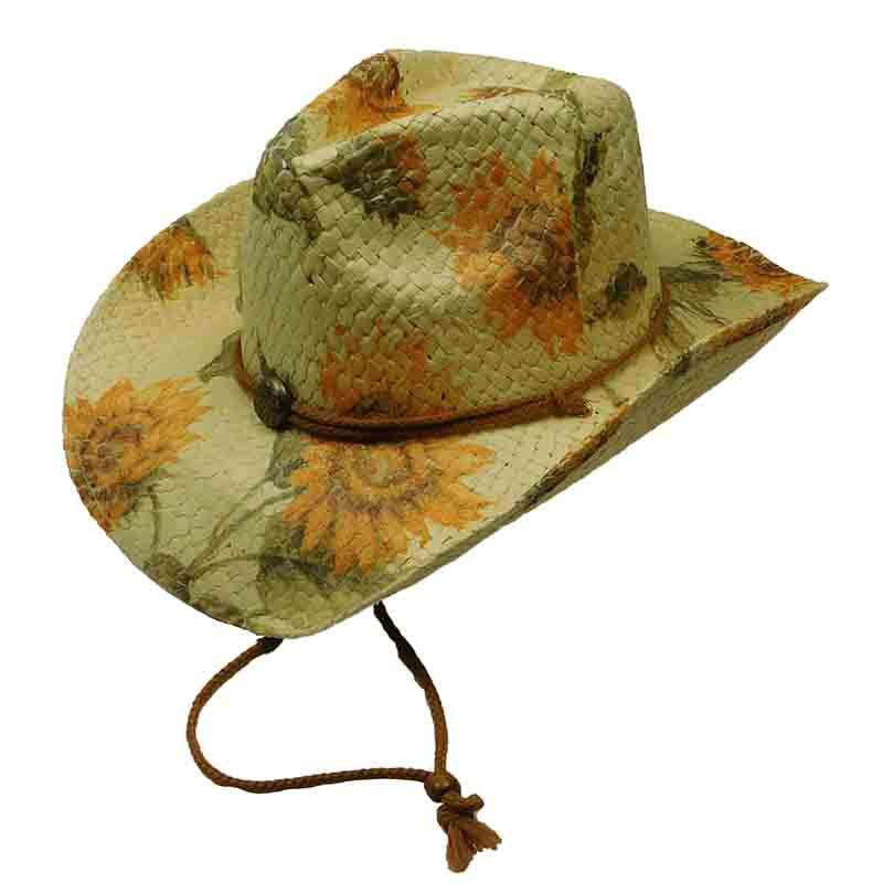 Woven Toyo Floral Cowboy Hat with Chin Cord - Sunflower