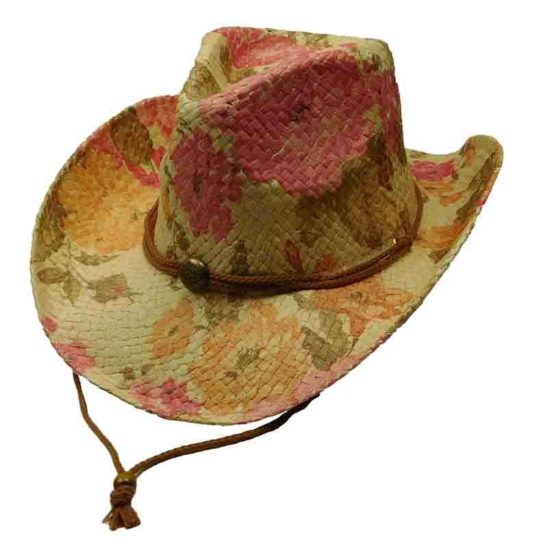 Woven Toyo Floral Cowboy Hat with Chin Cord - Chrysanthemum