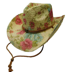 Woven Toyo Floral Cowboy Hat with Chin Cord - Peony
