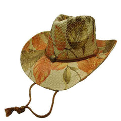 Woven Toyo Floral Cowboy Hat with Chin Cord - Lily
