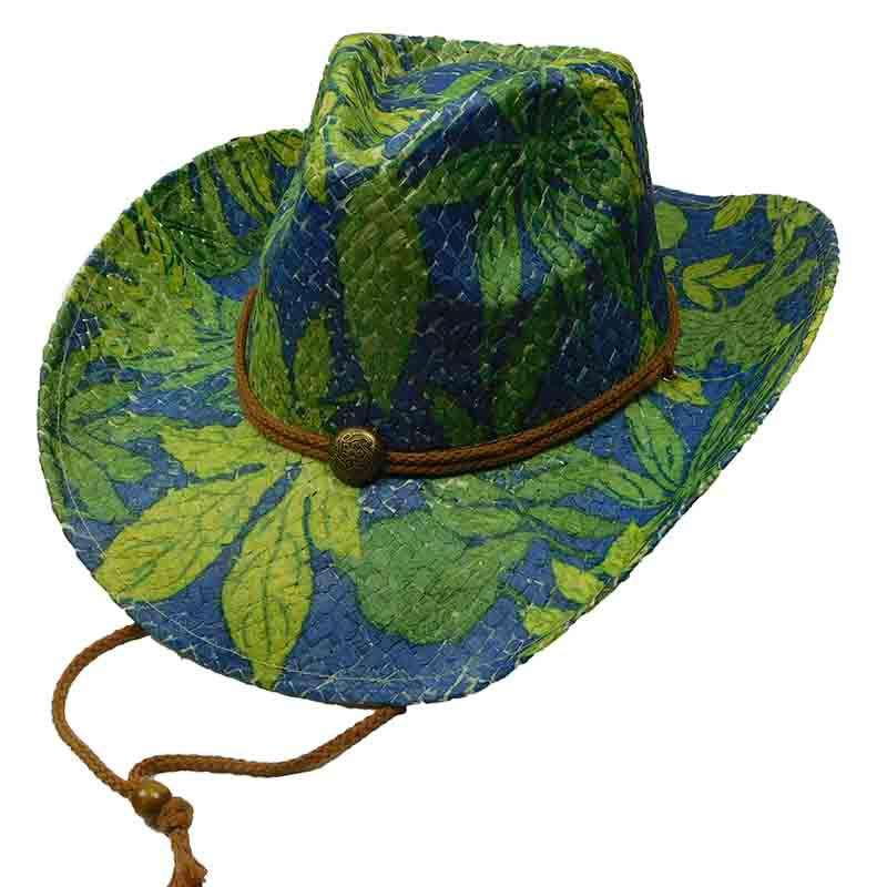 Woven Toyo Floral Cowboy Hat with Chin Cord - Jungle
