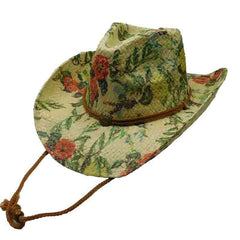 Woven Toyo Floral Cowboy Hat with Chin Cord - Rose