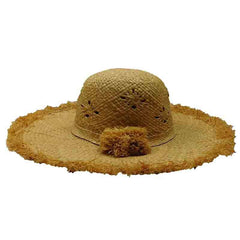 Frayed Brim Raffia Sun Hat - Boardwalk