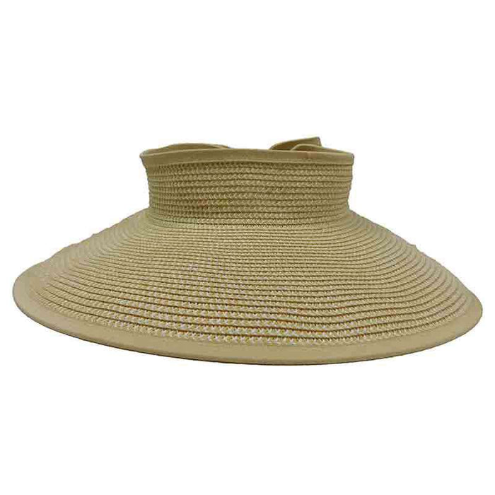 Roll Up Sun Visor Hat with Bow by Milani