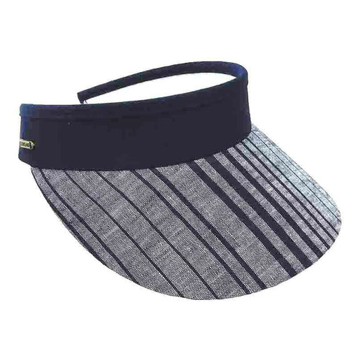 9391800c Stripes Cotton Sun Visor with Curly Coil Lace - Sun 'n' Sand