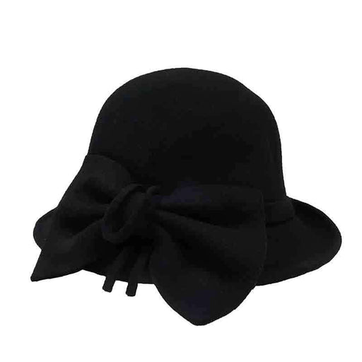 Wool Felt Cloche with Pleated Bow by JSA for Women