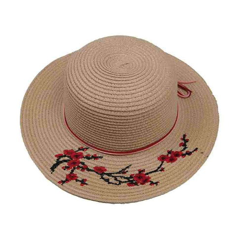 Embroidered Red Blossom Tree Sun Hat for Girls