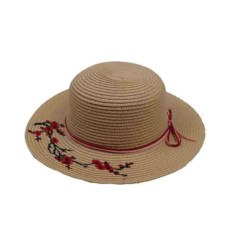 2461d6df89f Embroidered Red Blossom Tree Sun Hat for Girls
