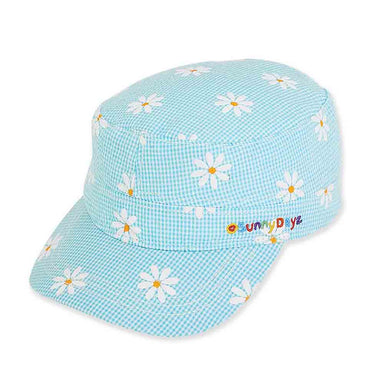 Daisy Gingham Cotton Cadet Cap for Small Heads - Sunny Dayz Hat