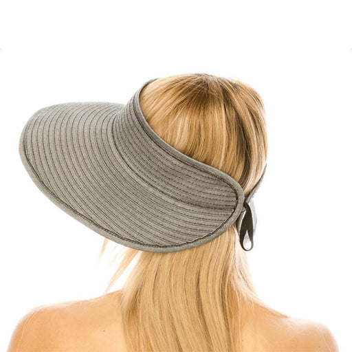 Denim Ribbon Wrap Around Roll Up Sun Visor Hat - Boardwalk Style