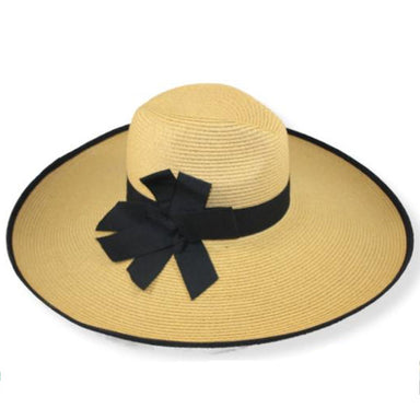 "Super sized wide brim beach hat with unique ribbon bow.  Fedora style crown with center dent and pinched front.  Extra-wide ribbon trimmed brim, 6"", curled edge.  Beautiful triple layer black ribbon bow accent.  UPF 50+ rated sun hat for women."