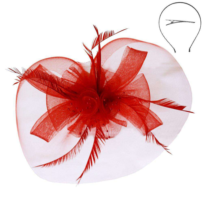 Mesh Flower and Feather Headband - SetarTrading Hats