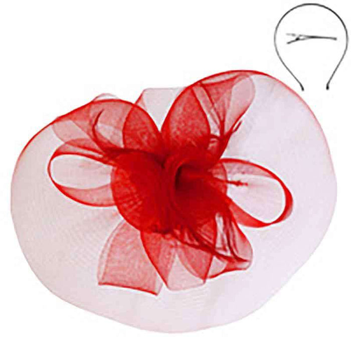 Red Mesh Veil Lily Fascinator