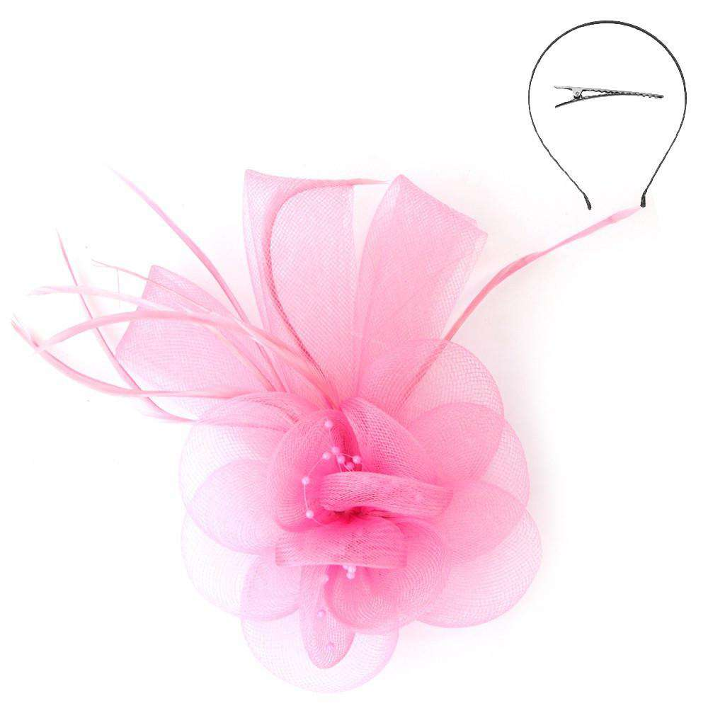 Small Mesh Fascinator with Feather Accent - SetarTrading Hats