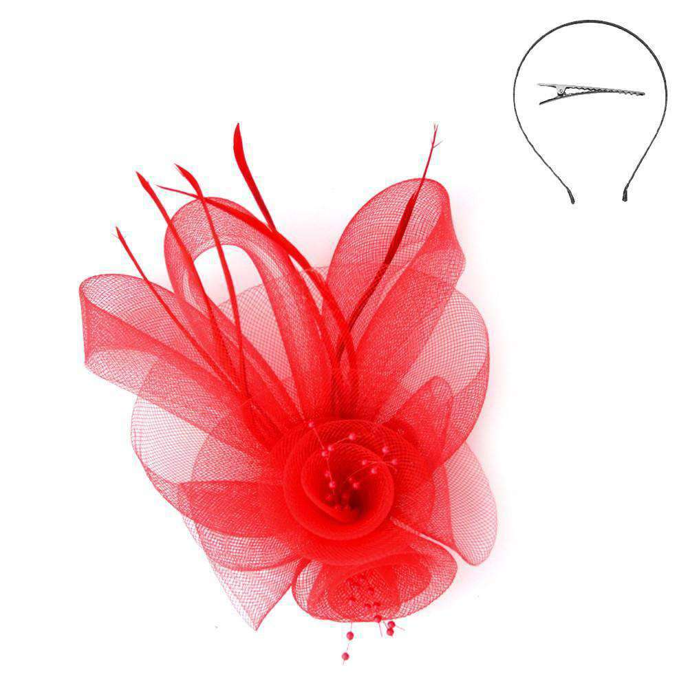 Double Mesh Flower Fascinator - SetarTrading Hats