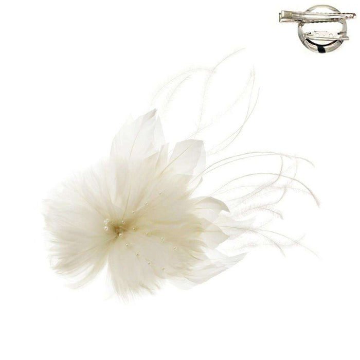 Feather Flower and Leaf Fascinator-Brooch Pin - SetarTrading Hats