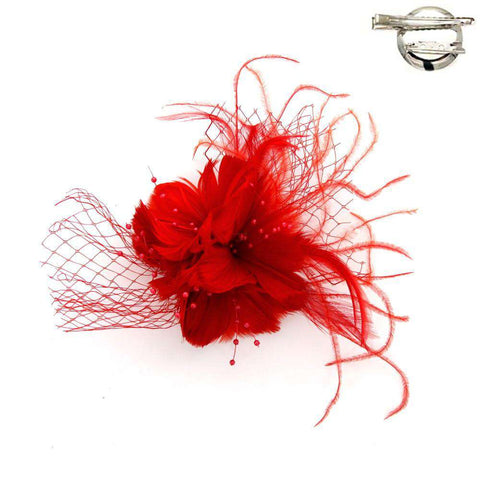 Feather Flower Fascinator-Brooch