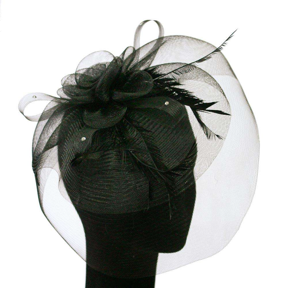 Large Mesh Flower and Feather Fascinator - SetarTrading Hats